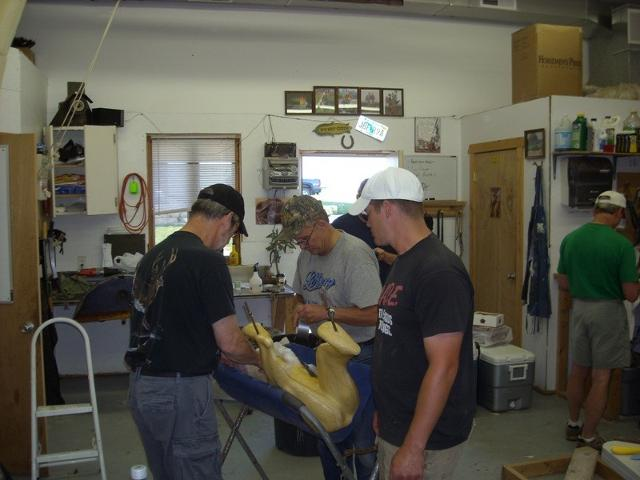 Ken Shane, Marty WIley, and Adam Zwick prepping a life size Black Bear.