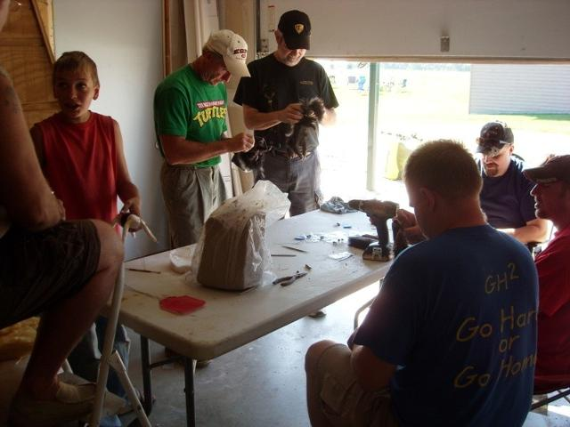 Lots of guys learning how to wrap body's from Scott Vohnoutka.