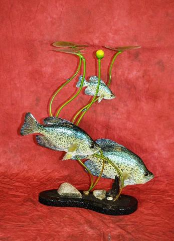 Masters Division: Reproduction Crappie and Skin Mount Crappie topped off by a Wood Carving Crappie by Marty Wiley